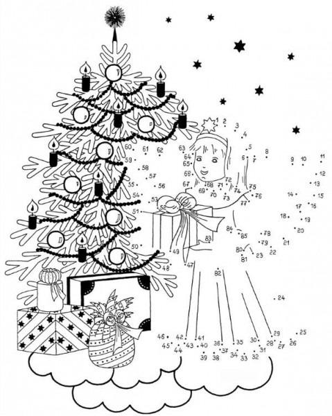Dibujo De Unir Puntos De ángel En Navidad  Dibujo Para Colorear E