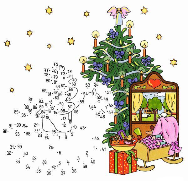 Dibujo De Unir Puntos De árbol En Navidad En Color  Dibujo Para