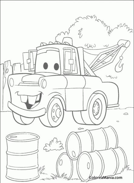 Colorear Mate En Busca De Gasolina (cars), Dibujo Para Colorear Gratis