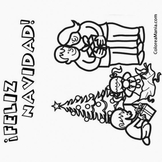 Colorear Feliz Navidad Con La Familia (navidad), Dibujo Para