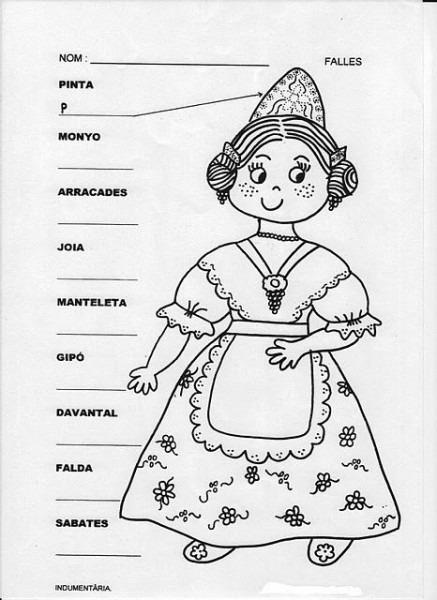 Dibujo Fallera Para Colorear