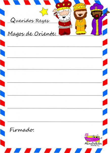 Carta De Los Reyes Magos Para Imprimir Y Colorear
