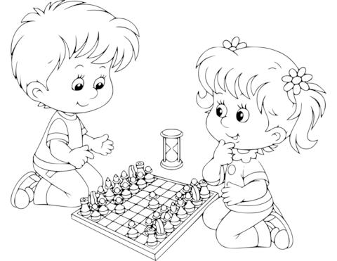 Dibujo De Niño Y Niña Jugando Al Ajedrez Para Colorear