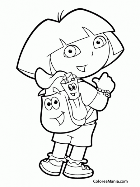 Colorear Dora Nos Muestra Su Mochila (dora La Exploradora), Dibujo