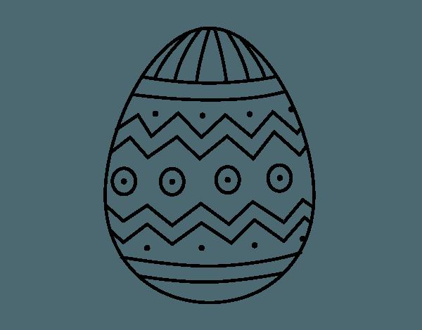 Dibujo De Huevo De Pascua Con Estampados Para Colorear