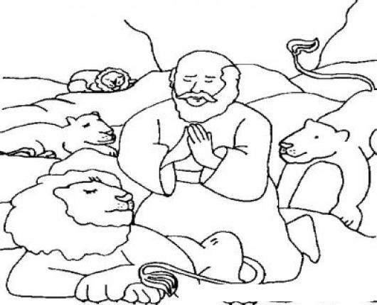 Dibujo Biblico De Daniel Con Los Leones Para Pintar Y Colorear