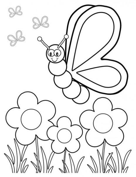 Flor Y Mariposa Para Colorear