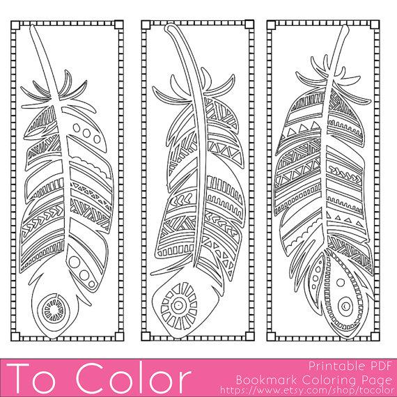 Plumas Imprimibles Para Colorear Marcadores De Página Para Adultos