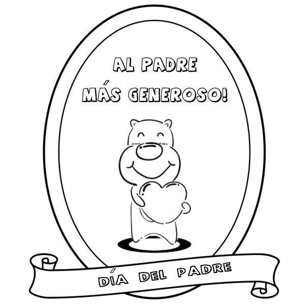 Dibujos Para Pintar Con Niños  Medalla Al Papá Más Generoso