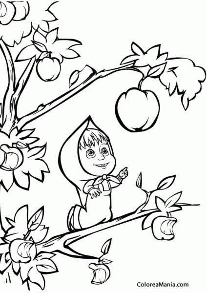 Colorear Masha Cogiendo Un Fruto (masha Y El Oso), Dibujo Para