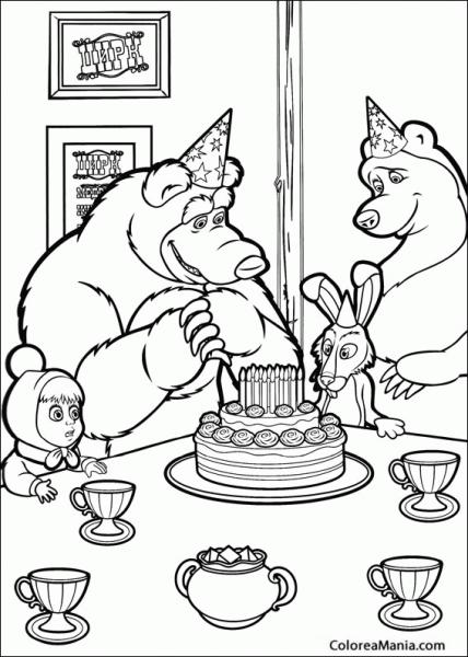 Colorear Masha Y El Oso Cumpleaños (masha Y El Oso), Dibujo Para