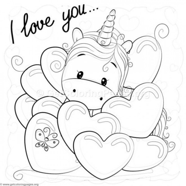 Valentine I Love You Unicorn Coloring Pages – Getcoloringpages Org