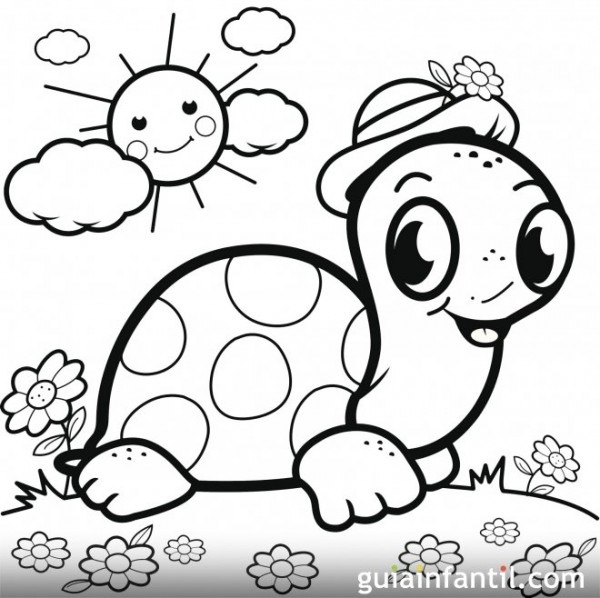 Una Tortuga Al Sol Con Su Sombrero  Dibujo Para Pintar