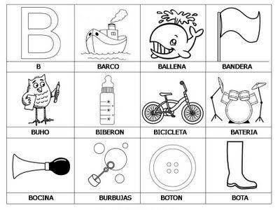 Laminas Con Dibujos Para Aprender Palabras Y Colorear Con Letra  B