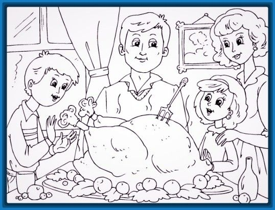 Dibujo De Una Familia Cenando En Navidad