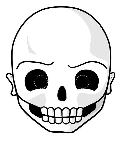Máscara Calavera Para Imprimir Y Colorear
