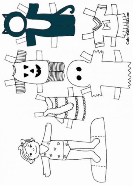 Colorear Recortable Disfraces Halloween (halloween), Dibujo Para