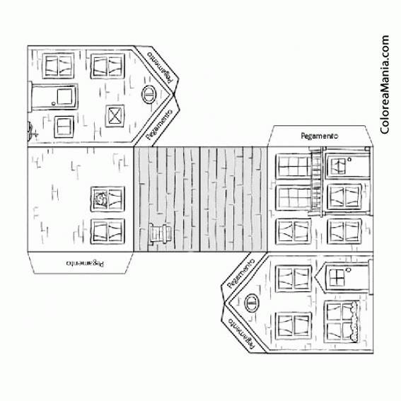 Colorear Casa Recortable (geométricos), Dibujo Para Colorear Gratis