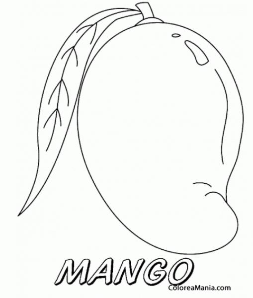 Colorear M De Mangos (frutas), Dibujo Para Colorear Gratis