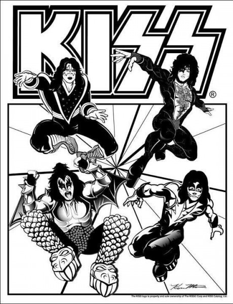 Kiss Coloring Book Page!