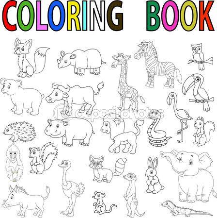 Ilustración Vectorial De Dibujos Animados Animales Salvajes Para