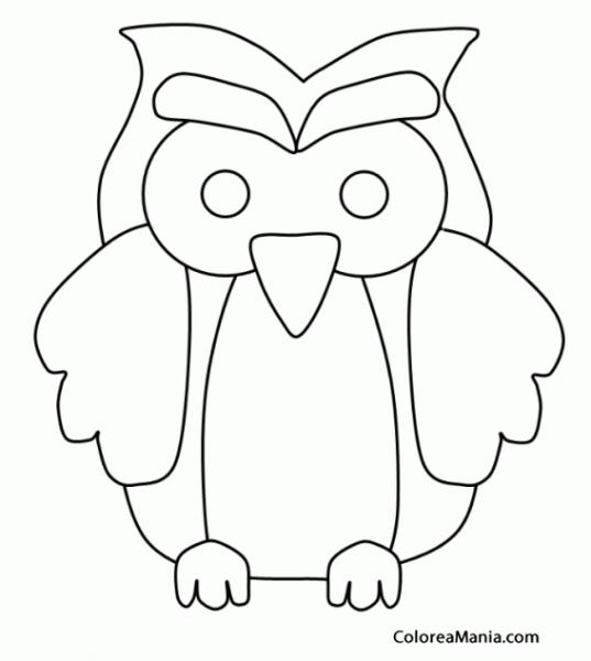 Colorear Silueta Búhos (aves), Dibujo Para Colorear Gratis