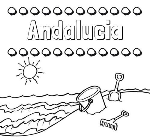 Nombre Andalucia  Nombres En La Playa  Dibujos Para Colorear
