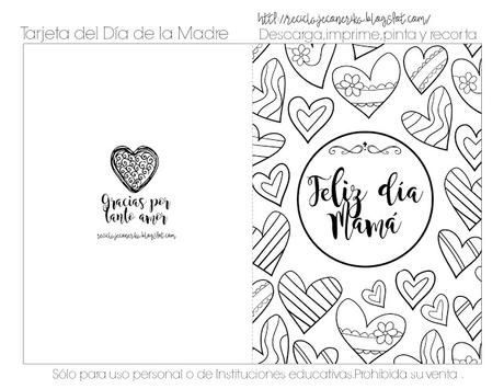 Tarjetas Para Colorear Del DÍa De La Madre , Gratis