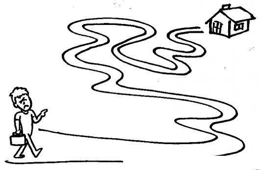 Dibujo De Camino A Casa Para Pintar Y Colorear Un Caminito