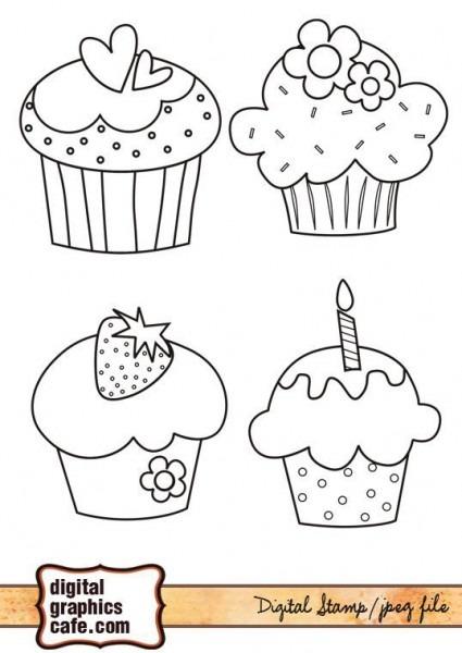 Toprightfree Digital Stamps, Cupcake Graphics
