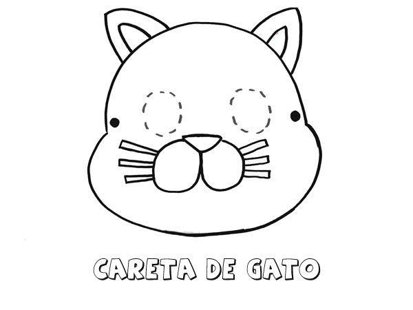 Careta De Gato  Dibujos Para Colorear Con Los Niños