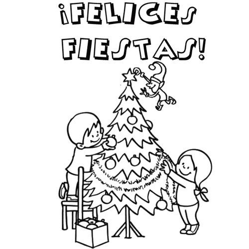 Colorear Familia Y Arbol De Navidad