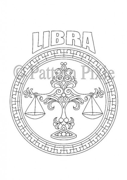 Adult Coloring Page Zodiac Libra