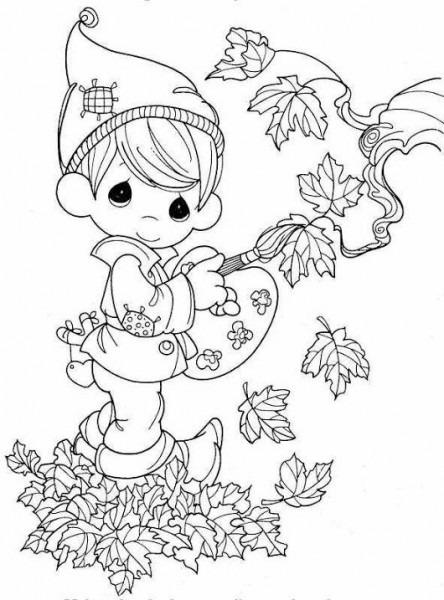 Dibujos  Otoño Niño Con Pincel Y Hojas Secas Para Colorear