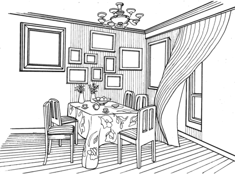 Dining Room In Provence Style Coloring Page