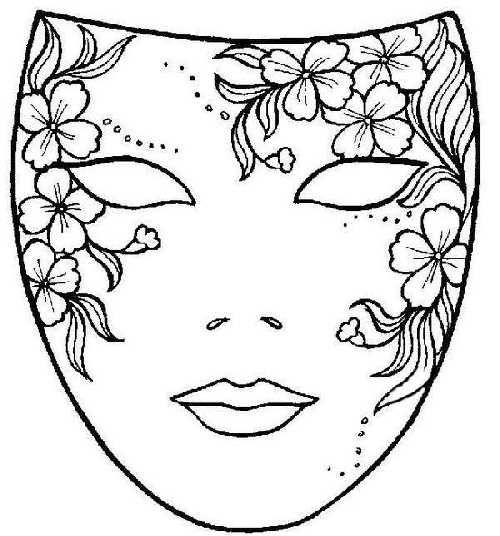 Dibujo Máscara De Carnaval Con Flores