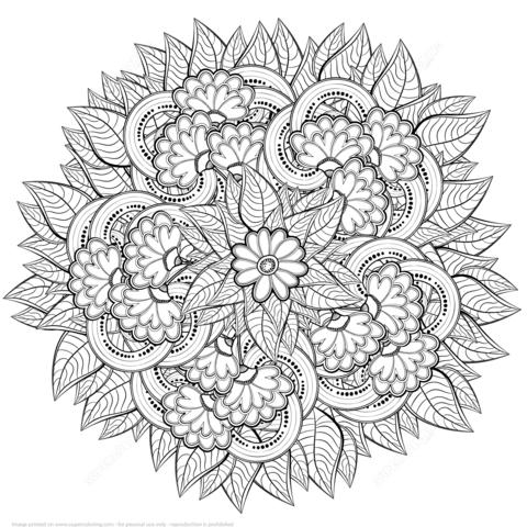 Dibujo De Flores Abstractas Zentangle Para Colorear