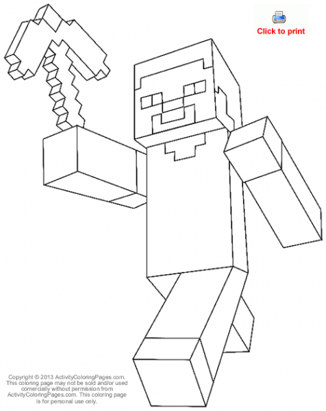 Steve From Minecraft Coloring Page Â« Cartoons Â« Activity Coloring