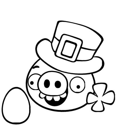 Dibujo De Cerdo Vestido Como Leprechaun Para Colorear