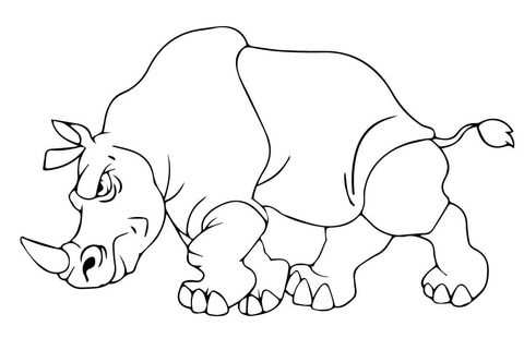 Dibujo De Rinoceronte Enfadado Para Colorear