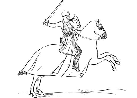 Dibujo De Caballero Con Armadura Montado En Un Caballo Con Una
