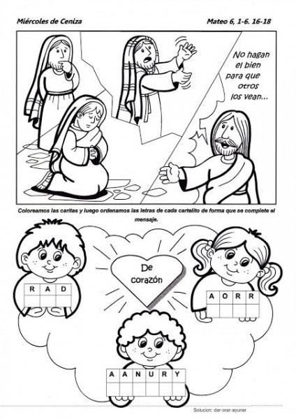 Parroquia La Inmaculada  Miércoles De Ceniza  Ficha Para Niños