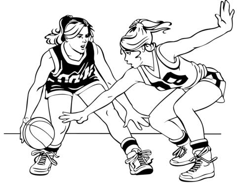 Dibujo De Muchachas Del Baloncesto Para Colorear