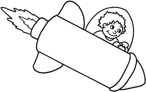 Dibujo De Chico Volando En Cohete Espacial Para Colorear