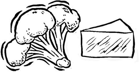 Dibujo De Brócoli Y Queso Para Colorear