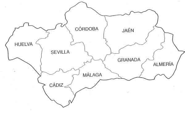 Resultado De Imagen De Mapa De Andalucia Para Colorear