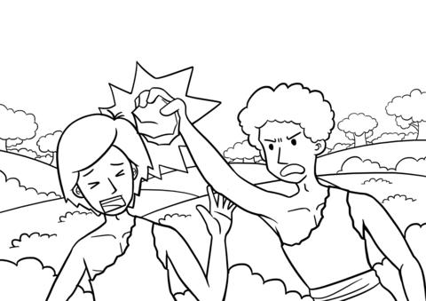 Dibujo De Caín Matando A Abel Para Colorear