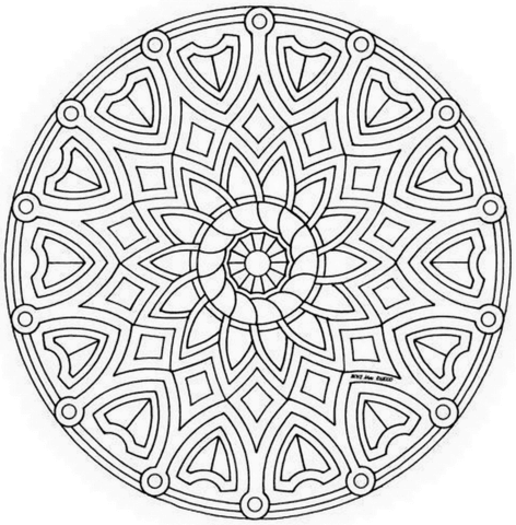 Dibujo De Mandala Celta Con Flor Para Colorear