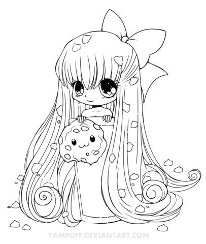 Dibujo De Chica Chibi Con Galleta Para Colorear