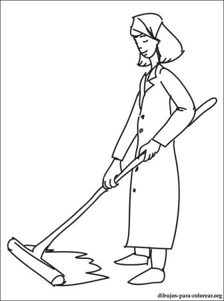Dibujo De Mujer De Limpieza Para Colorear